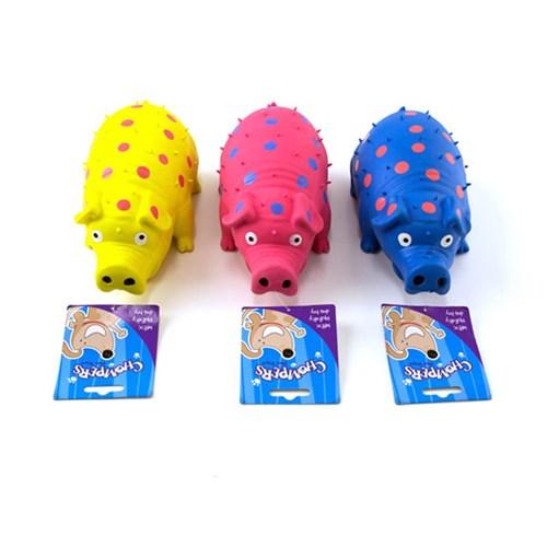 Latex-grunting-polka-dot-pig-chew-toy